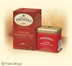 ENGLISH BREAKFAST    A rich & satisfying robust black tea. The robust, malty character of this tea comes from pure Assam and Kenyan tea leaves grown in India.