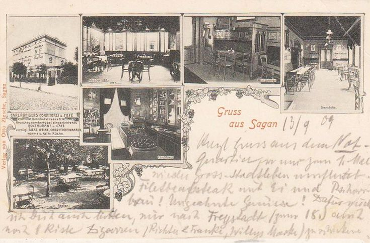 Restauracja i kawiarnia Carla Rüdigera, Żagań - 1922 rok, stare zdjęcia