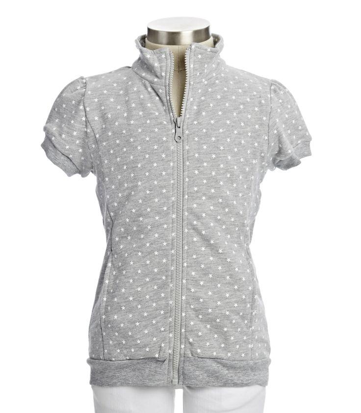 Women's fashion   white/gray short sleeve zip up sweatshirt
