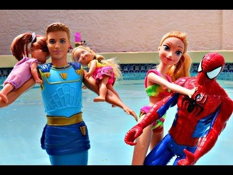 Frozen MERMAID Swim School Barbie Merman and Spiderman Swimming Elsa and Anna DisneyCarToys