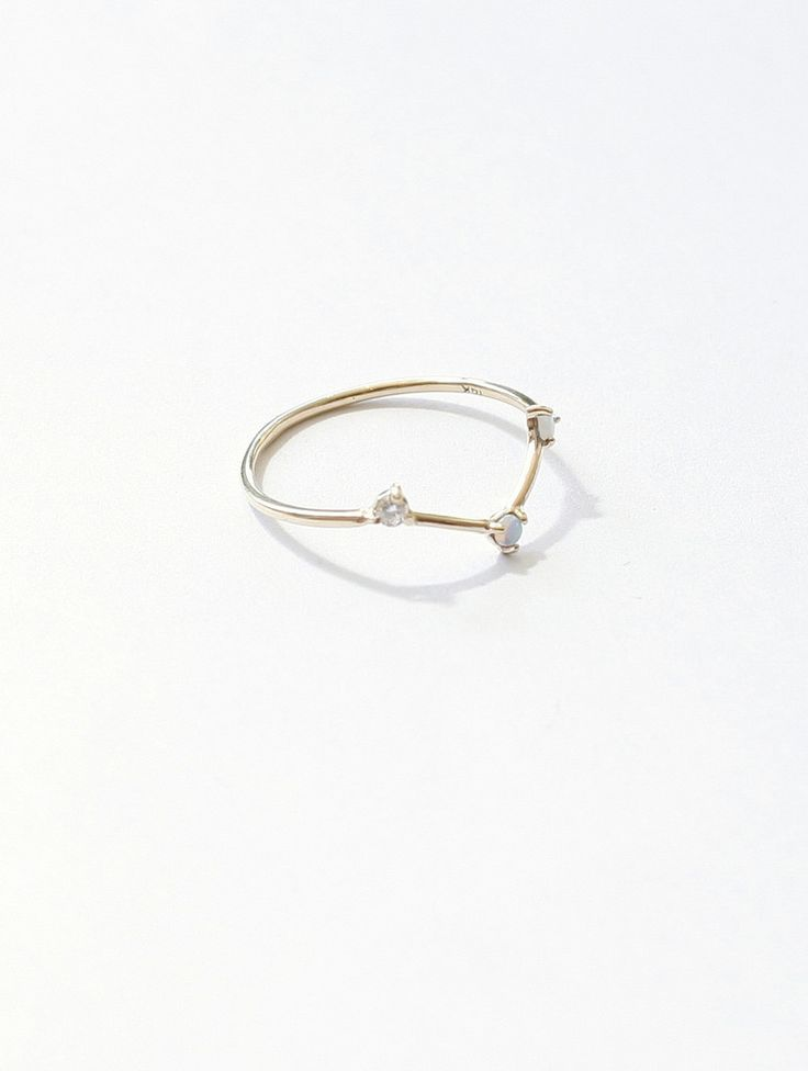 MILLE | WWake 14K Gold Two Step Ring - Opal