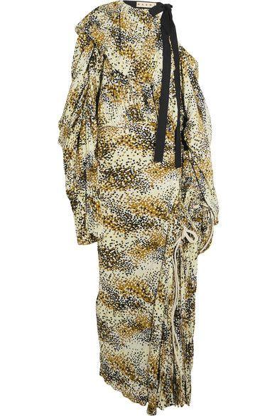 Marni - Cutout Printed Plissé-silk Maxi Dress - Marigold - IT