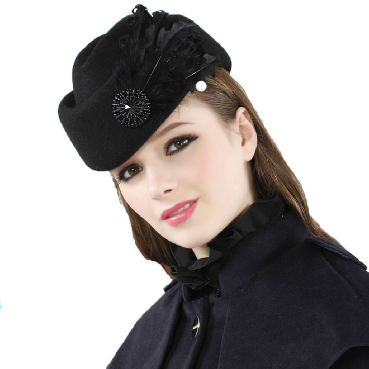 Luxury feather stewardess cap fedora hat female fashion solid wool vintage hats for women