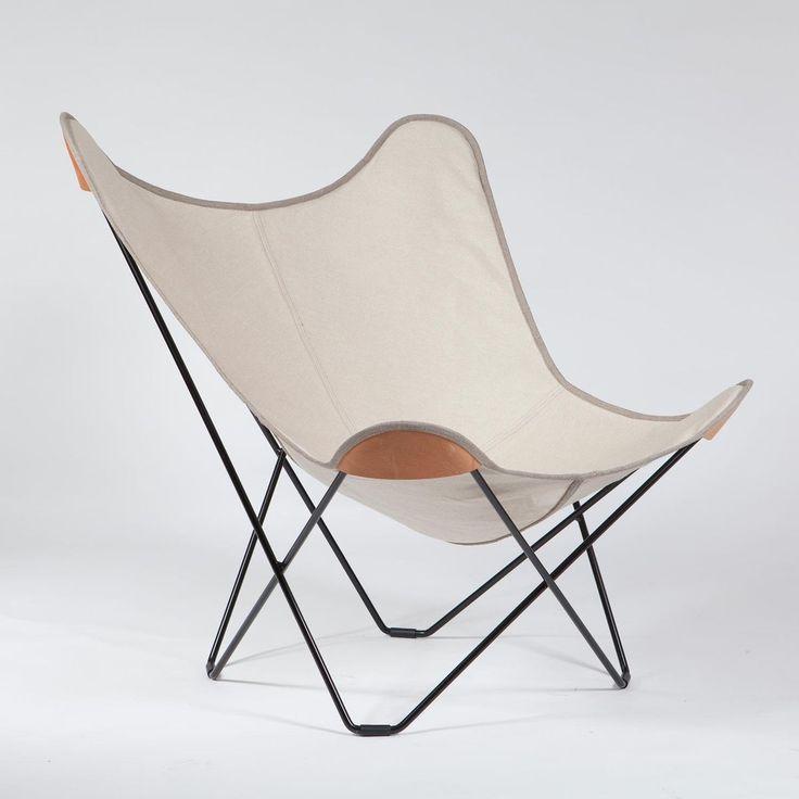 cuero - Canvas Mariposa Butterfly Chair - natural/frame black