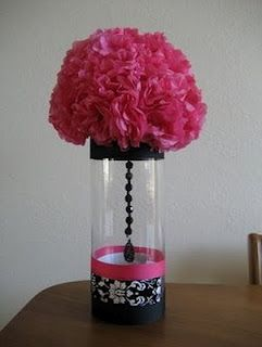 We did this exact centerpieces for my Mom's 70th Birthday but in turquoise & clear beads ......SM