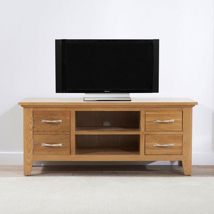 Cambridge Solid Oak TV Unit (Sizes 90cm/120cm) - 120cm - TV Unit - Mark Harris - Space & Shape - 1