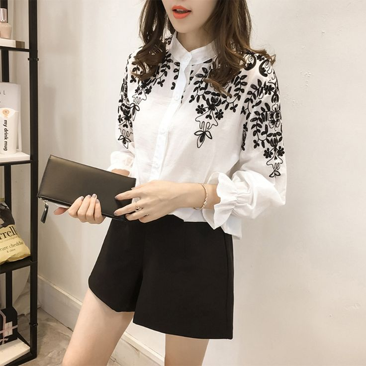 Female Clothing Embroidery Blouse Shirt Cotton Linen Women Blouses Camisas Femininas White Black Embroidered Tops Summer Fashion. discount price -16%