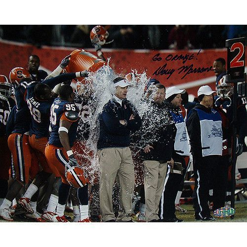 Doug Marrone pins. Bowl Gatorade Bath Horizontal 8x10 Photo w Go Orange Insc. - Doug Marrone led the Syracuse Orange to an 8-5 record during the 2010 college football season including a 36-34 victory on December 30 2010 in the New Era Pinstripe Bowl at Yankee Stadium. Doug Marrone has hand signed this 8x10 photograph of him getting a Gatorade bath after winning the New Era Pinstripe Bowl on 12-30-2010 and added the inscription Go Orange! A Steiner Sports Certificate of Authenticity is…