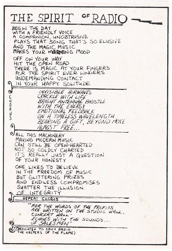 The Spirit Of Radio original lyrics in Neil's writing.