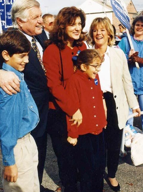 Senator Kennedy with his stepchildren Curran & Caroline, his wife Vicki, and his daughter Kara. This was taken in Massachusetts while the Senator was running for re-election to the United States Senate against Mitt Romney in 1994.
