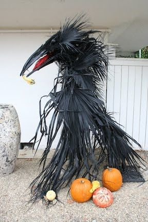 Raven made with painted palm fronds & pampas grass~very cool!