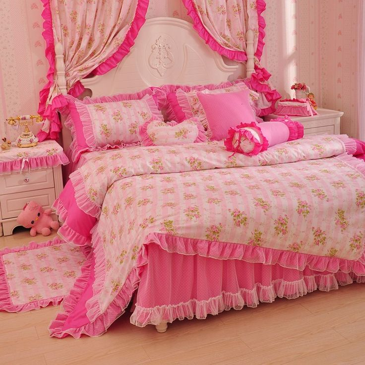 Girls Beautiful Rose Flowers  Lace Ruffle Tulle Full Queen Size Duvet Cover Bedding