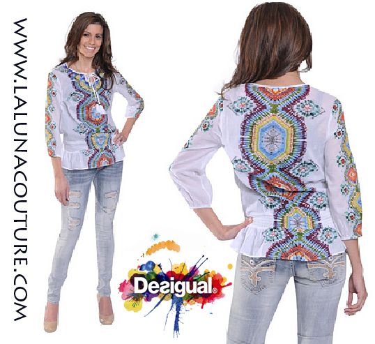 Absolutely Gorgeous!  Desigual Leman Blouse $99.00  Multi colored cotton drawstring tunic with a tie closure neckline. Leave it open or tie it to show off the blue beaded neckline. Order yours now!  https://www.lalunacouture.com/desigual-leman-blouse.html  #desigual #lemanblouse #shop #boutique #ootd