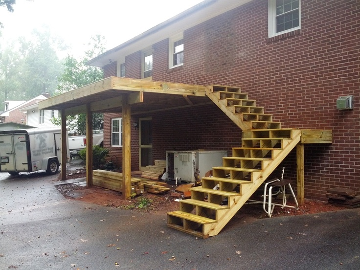 17 best images about front deck stairs carport on for Building a front porch deck