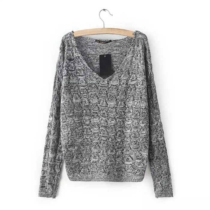 Find More Pullovers Information about New Korea Style Solid Color V Neck Women Knitting Loose Sweater Casual Hollow Out Transparent Thin Sexy Lady Knitted Pullovers,High Quality pullover manufacturers,China ladi Suppliers, Cheap ladies pullover sweaters from Comme t'y es belle! on Aliexpress.com