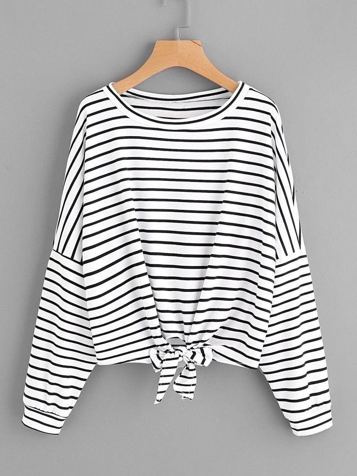 T-Shirts by BORNTOWEAR. Striped Tie Front Drop Shoulder Tee