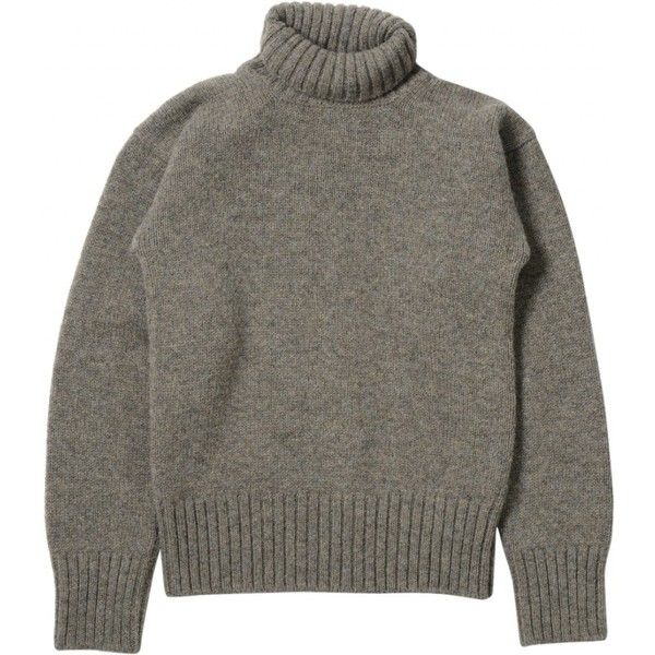 MHL ROLL NECK ($255) ❤ liked on Polyvore featuring tops, sweaters, merino wool sweater, roll neck sweater and merino sweater