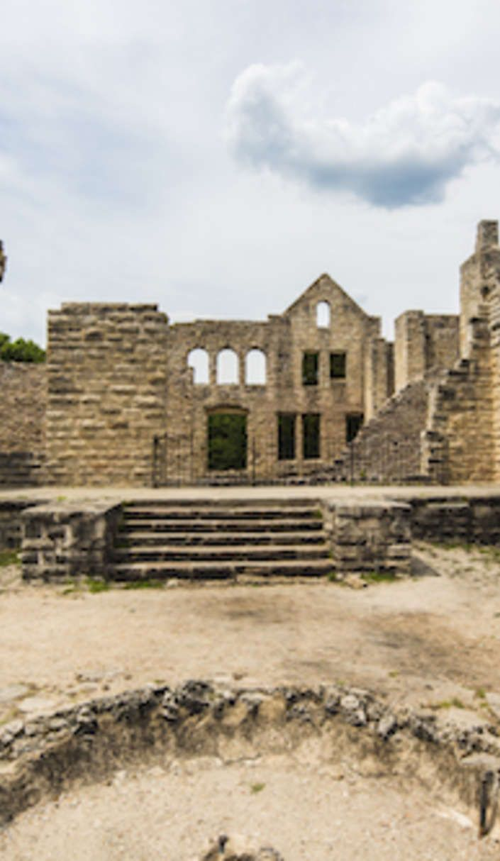 Explore the castle ruins at Missouri's Ha Ha Tonka State Park. There are 15 miles of trails for hiking enthusiasts, complete with sinkholes, natural bridges, and even caves. But, the most prominent park feature, is the early-20th-century castle ruins.