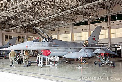 MONTE REAL, PORTUGAL-APRIL 7: F-16 Portuguese on hangar for maintenance on April 7,2011 in Monte Real, Portugal