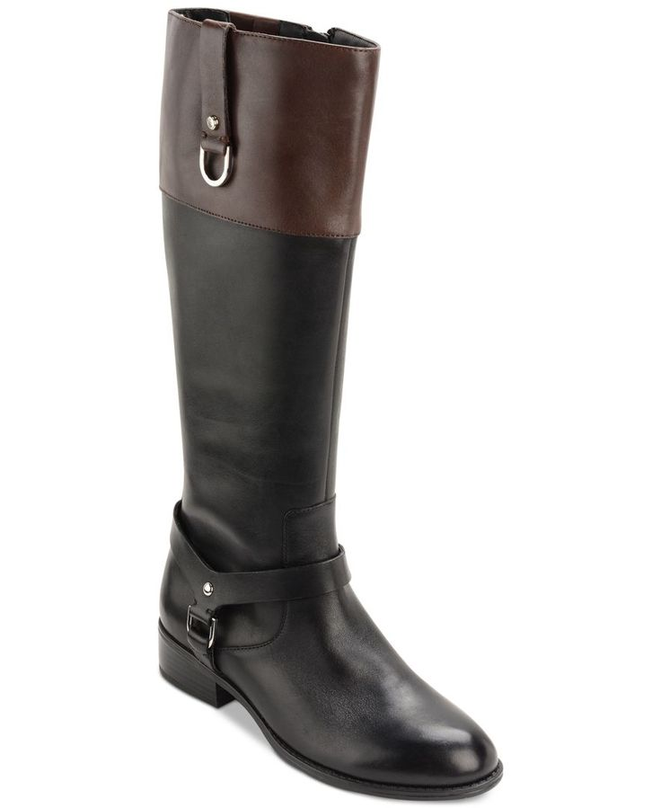 Lauren Ralph Lauren brings classic riding boot style to your wardrobe in the harness and strap details on these Mesa wide calf riding boots. | Leather upper; manmade sole | Imported | Almond-toe wide-