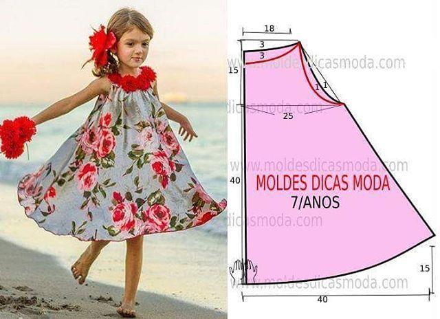 http://moldesdicasmoda.com/vestido-gode-estampado-25/ #fashionstyle #moda #modafeminina #modacriança #moldes #flowers #colors #plage