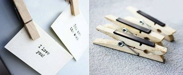 DIY Attach Magnet To Clothespins And Hang Notes On The Refrigerator