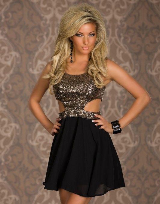 Gouden pailletten jurkje, gouden glittertop met een zwarte rok