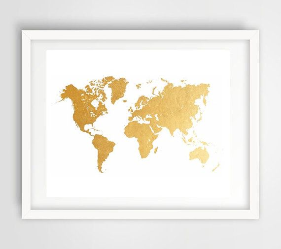 Art imprimable Gold World Map World Map Print par honeytreeprints