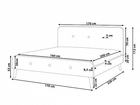 Säng marinblå - dubbelsäng - stoppad säng med ribbotten - 160x200 cm - RENNES ✓ Försäljning utan mellanhänder - 365 dagars ångerrätt garanti