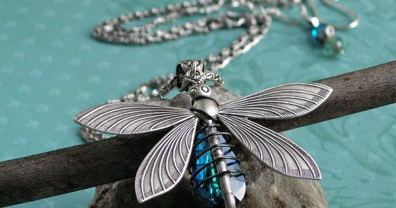 Heirloom quality bermuda blue dragonfly extra long chaining so something blue!  $46.49 save using coupon code july15