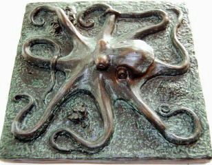 Octopus Tile in ancient bronze finish. From stonecirclearts  etsy.com