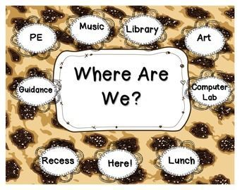 """Fun, jungle-themed """"Where Are We?"""" sign for the classroom."""