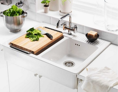domsjo double bowl farm sink from ikea for the home. Black Bedroom Furniture Sets. Home Design Ideas