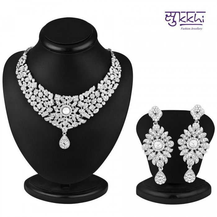 Rajasthani Rhodium Plated AD Stone Necklace Set | High5Store.com