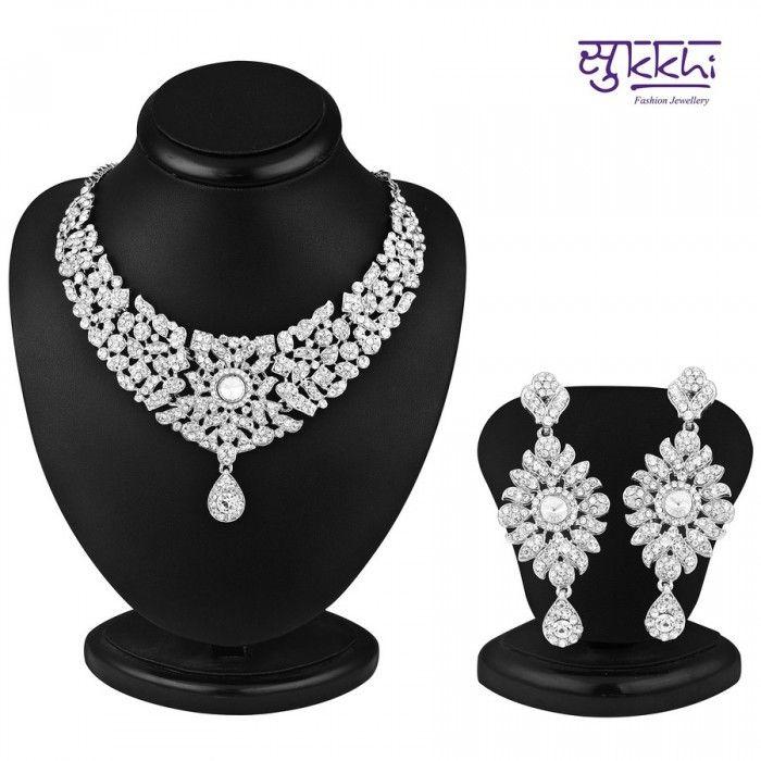 Rajasthani Rhodium Plated AD Stone Necklace Set | High5Store.com