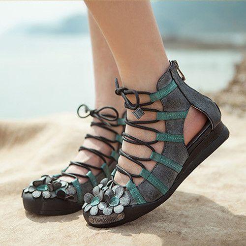 Zapatos de tendencia nacional de la vendimia hecha a mano de cuero genuino de las mujeres del recorte zapatos planos zapatos de las mujeres cómodas sandalias envío gratis en Sandalias de las mujeres de Zapatos en AliExpress.com   Alibaba Group