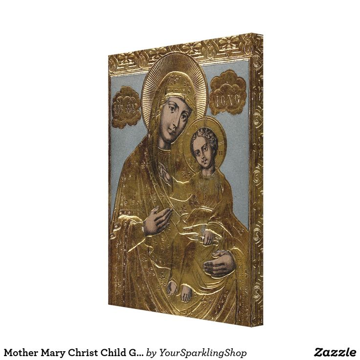 Mother Mary Christ Child Gold Look Lithograph 1872 on Canvas Print #christmas #religious #christianity #mothermary #jesus #christ
