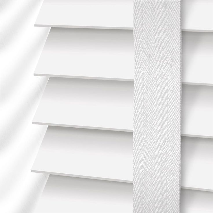 Pure White Amp White Wooden Blind With Tapes 64mm Slat