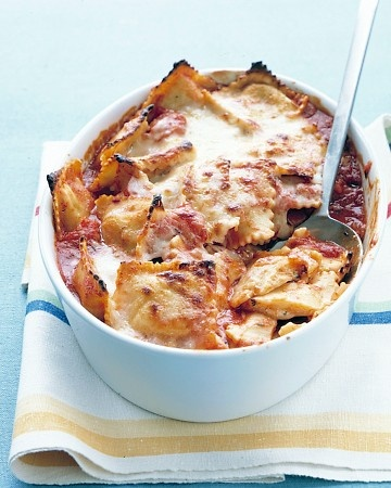 Instead of the typical Baked Ziti try this recipe for Baked Ravioli.