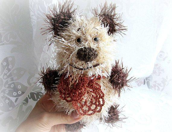 Knitted bear crochet toy stuffed bear soft toy plush bear