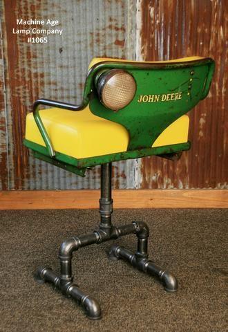 Steampunk Industrial Antique John Deere Tractor farm Chair Chairs Bar Stool #1065