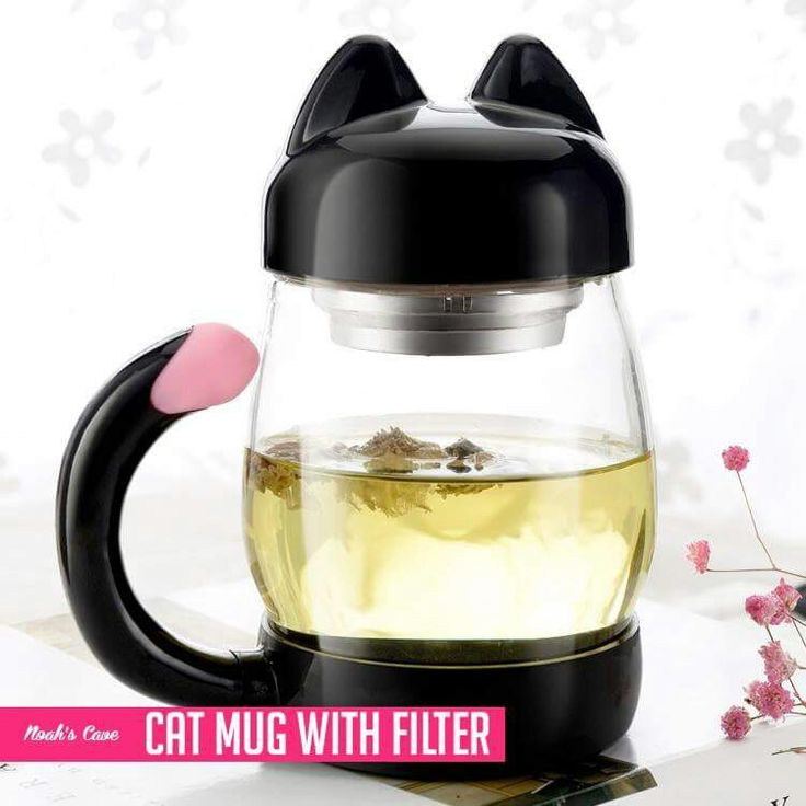 As if my list of cool cat products I need to buy wasn't long enough already! This cute cat tea mug with a filter is a cat lover's dream come true!