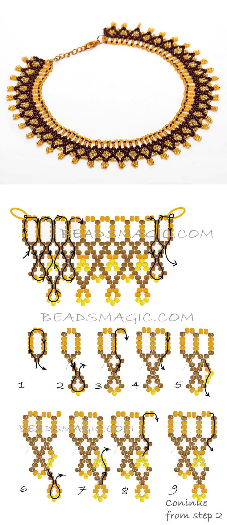 Free pattern for necklace Turmeric  11/0