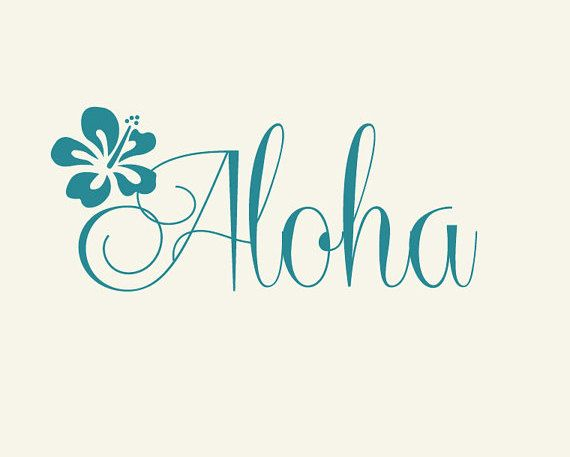 Welcome Decal Aloha with Hibiscus flower Vinyl decal sticker Front door decoration coastal beach decor
