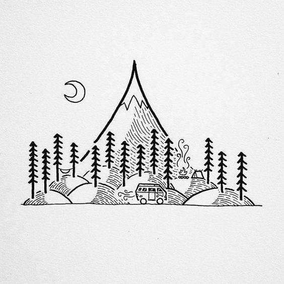 Tattoo Ideas Easy To Draw: Stylish Mountain Tattoos