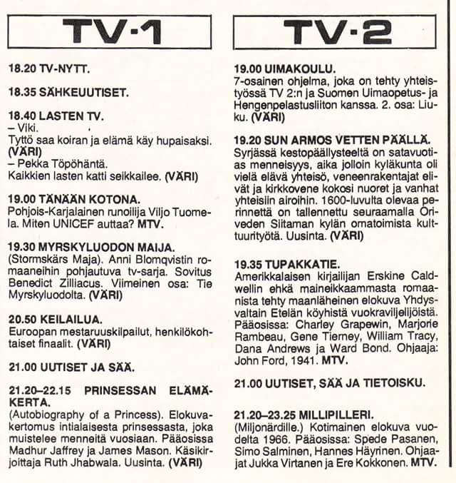 1970 - luvulla tv:stä näkyi vain kaksi kanavaa, eikä tallentimia ollut yleisessä käytössä ainakaan Suomessa?