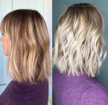 """Here is a terrific explanation and illustration of """"foil-ayage"""" from @katieclairedoeshair on Instagram. """"Look at this beauty! If you're wondering what a foil-ayage looks like, look no further. This cute mama came in wanting to be blonder. When people want low maintenance but a higher lift, foil-ayge is a perfect route to take. Foils = higher lift. Balayage = low maintenance. Foil-ayage = PERFECT."""" (Editor's note: We used 'perfect' but she used a much cuter emoji to express herself here.)"""
