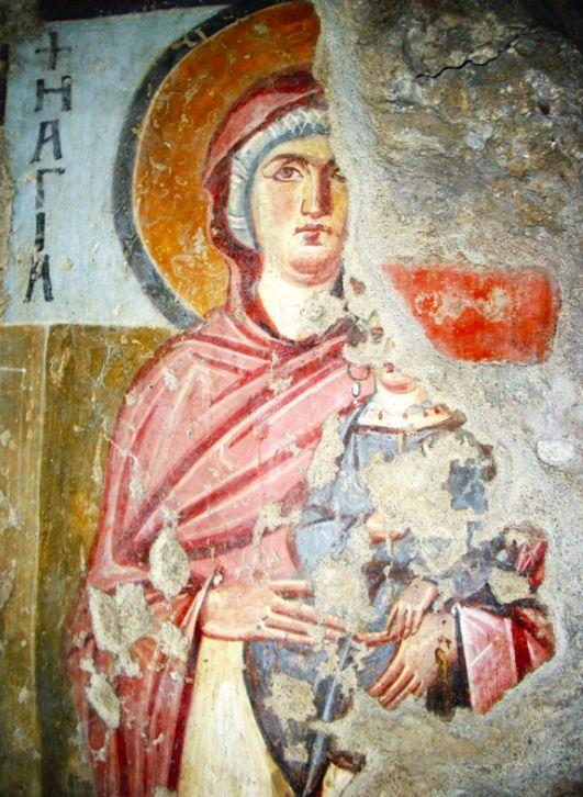 Santa Maria Antiqua, Roma. Affresco dell'inizio del VII secolo. Sant'Anna.