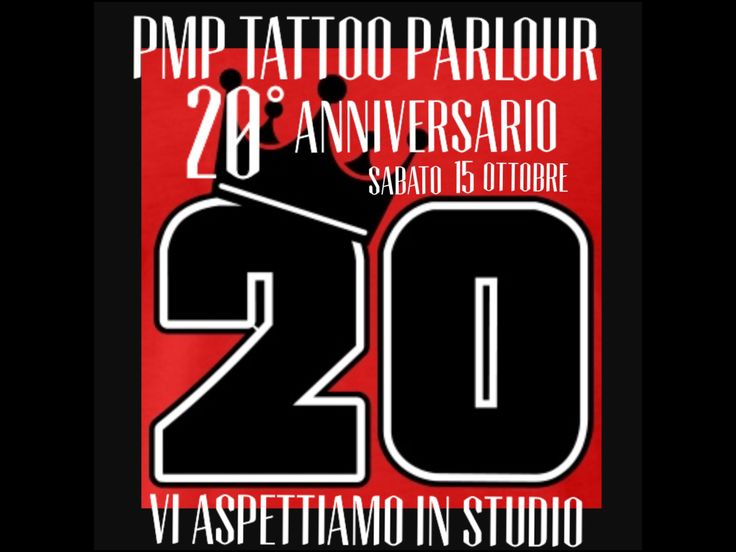 ✨20 anni di voi!✨ PMP Tattoo Parlour compie 20 anni !!! Domani dalle 17:00 in poi cin cin con lo staff !!! Vi aspettiamo ! #saturday #tattoo #saturday #ink #happybirthday #tattoos #love #family #amezing #special #colors #fun #drink #all #now #tattooink #tattoolove #facebook #instagood #instacool #instagram @king_tak @one_tooth_three @albi_koruti