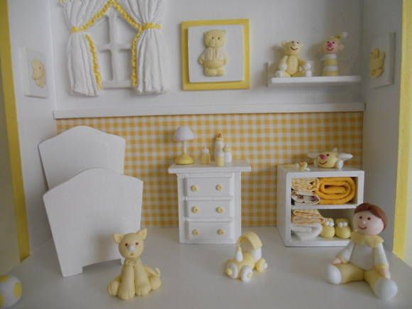 Cenário em mdf, decorados com peças em  madeira, resina e miniaturas em biscuit modeladas a mão.O papel de parede e as cores dos enfeites são personalizados do seu jeito.Para acrescentar personagens, consultar preço. R$ 110,00